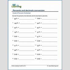 Grade 6 Math Worksheet  Percents And Decimals Conversion  K5 Learning