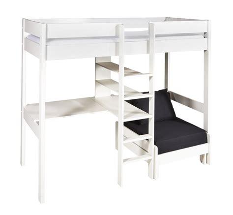 bureau surélevé lit surélevé bureau pino blanc avec siège convertible