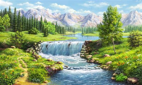 waterfall landscapes landscape with waterfall by alfabell on deviantart