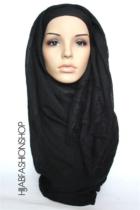 lace edge hijab black maxi hijab light hijab buy