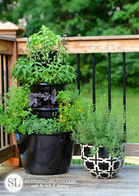 patio herb garden tiered planters