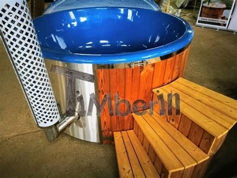 tub wood burner wood burning tub with blue fiberglass lining