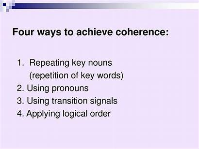 Words Transitional Phrases Coherence Presentation Achieve Key
