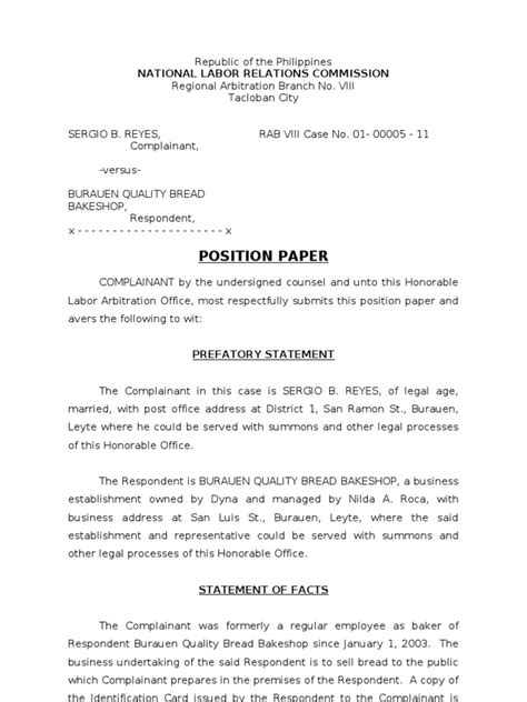 nlrc position paper reyes wage