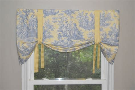 yellow toile valance items similar to window treatment tie up valance toile valance blue and yellow valance