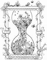 Coloring Pages Adult Hourglass Printable Garden Discover sketch template