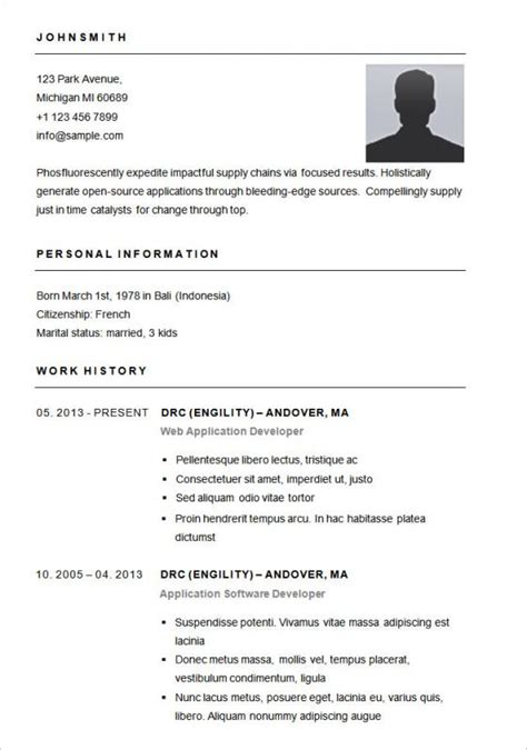 simple resume format  word template business
