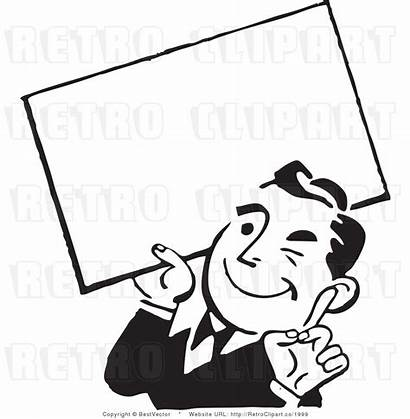Sign Clipart Holding Blank Retro Advertising Vector