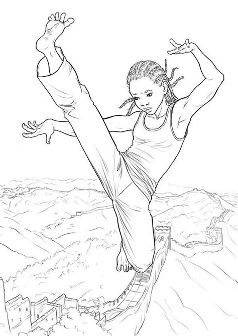 karate kid   coloring page kids play color