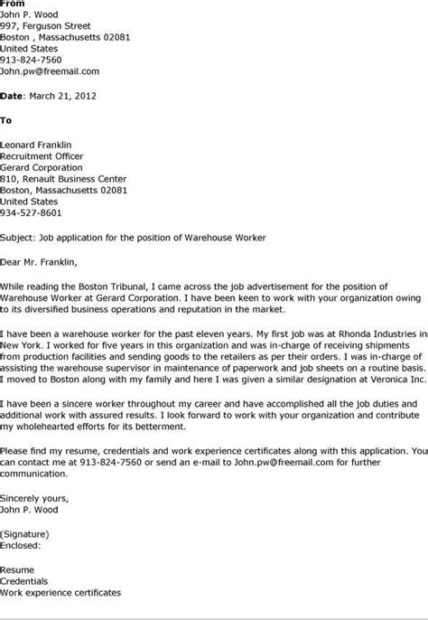 Cover Letter For Warehouse Worker by Amazing Warehouse Position 6 Warehouse Worker Cover