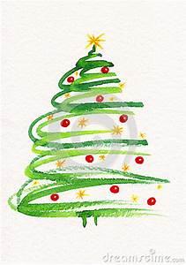 Decorated Christmas Tree Painting Stock Illustration