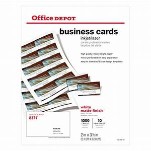 Office depot brand matte business cards 2 x 3 12 white for Business card office depot