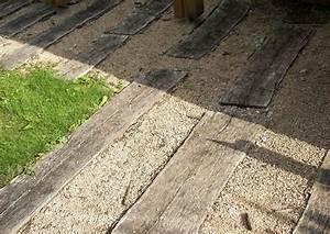 Bahnschwellen Beton Holzoptik : terrassenbelag aus holz und kies splitt alte bahnschwellen ~ Sanjose-hotels-ca.com Haus und Dekorationen