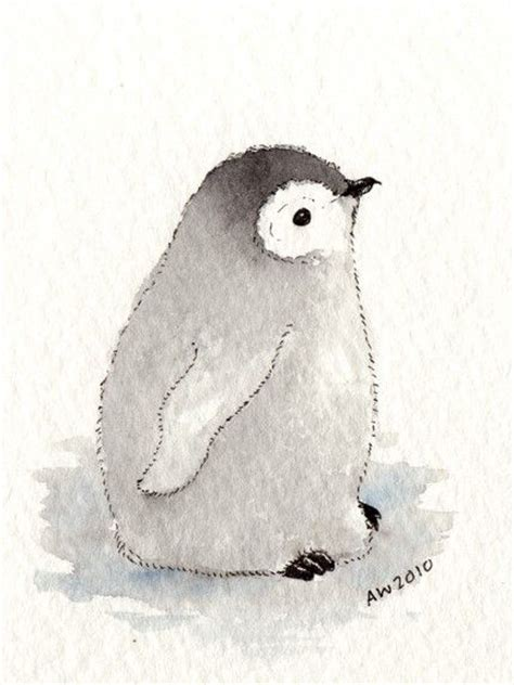Penguin Chick Aceo Original Ink Watercolour Wildsunart