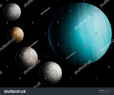 Digital Painting Planet Uranus 4 Many Stock Illustration ...