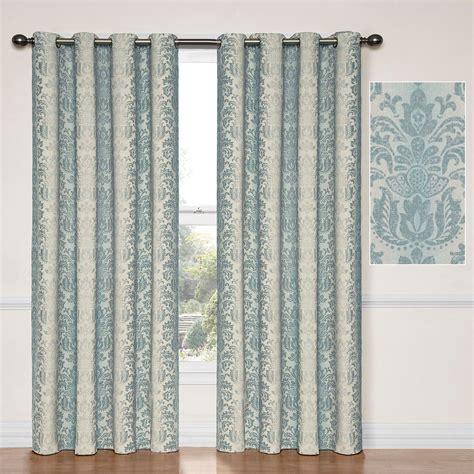 blue curtain panels nadya thermalayer steel blue blackout curtain panels