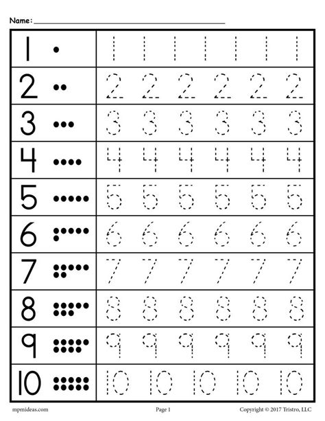 Free Tracing Worksheets Numbers 120! Supplyme