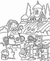 Coloring Pages Gardening Happy sketch template