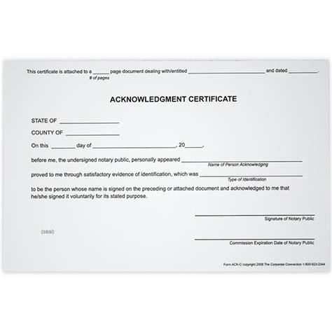 acknowledgment notary certificates  state notary supplies