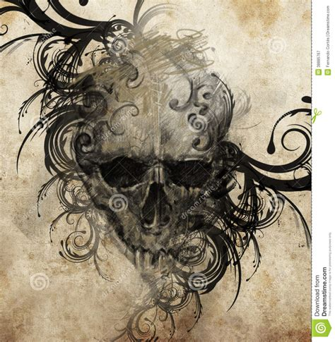 Skull Tattoo Sketches and Drawings