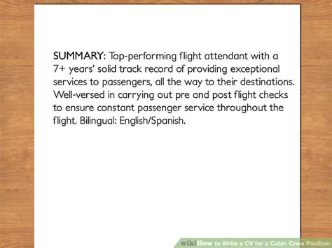 Description Of Cabin Crew by How To Write A Cv For A Cabin Crew Position With Pictures