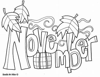 Coloring Months Pages November Doodles Classroom Month