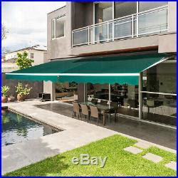 patio awning retractable sun shade outdoor canopy sunsetter  crank handle patio awnings