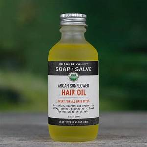 Organic Hair Oil Argan Sunflower Chagrin Valley Soap