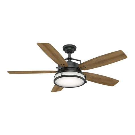 outdoor ceiling fans with led lights casablanca caneel bay 56 in led indoor outdoor aged steel