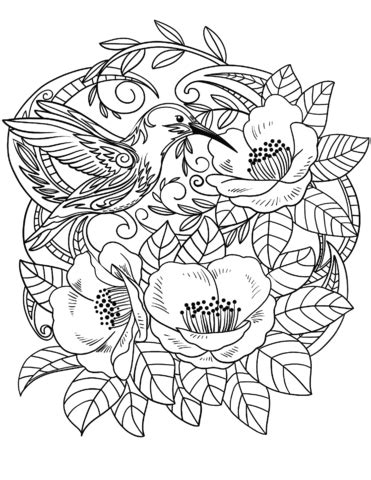Hummingbird in Flowers coloring page | Free Printable
