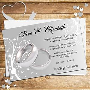 10 personalised wedding invitations day evening n44 silver With pictures of wedding rings for invitations