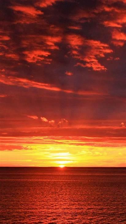 Sunrise Horizon Sun Sea Background 1080p Iphone