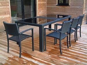 Table De Jardin Resine : table de jardin r sine tress e 200cm x 100cm x 74cm plateau en verre coloris noir sur ~ Teatrodelosmanantiales.com Idées de Décoration