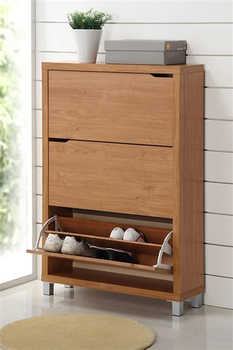 Simms Modern Shoe Cabinet In Maple by Baxton Studio Shoe Cabinets