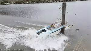 Boat Crash Into Pole boat driving on new zealand inlet crashes into wooden pole