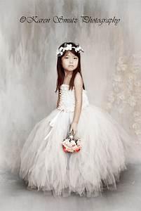 Antique White Flower Girl Tulle Skirt in White and Ivory