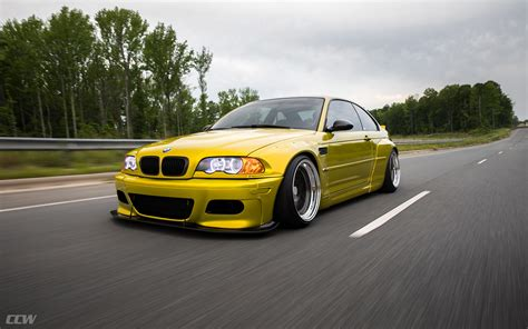 bmw e46 widebody yellow bmw e46 m3 bagged and modified