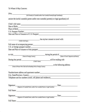 free child travel consent form template child travel consent form sle 6 free documents in word pdf