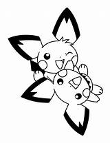 Pichu Coloring Together Playing Pages sketch template