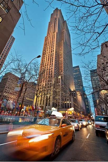 Rockefeller Center York Nyc Yellow Building Dusk