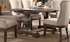 Leonel, 72, U0026quot, Trestle, Dining, Table, In, Brown, Distressed, Wood, Finish