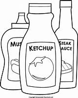 Ketchup Mustard Clipart Bbq Coloring Bottle Pages Steak Sauce Condiments Preschool Clip Colouring Homemade Template Cliparts Library Results sketch template