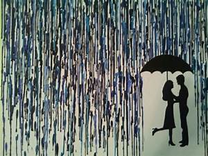 couple in the rain painting   Couple Kissing Under ...