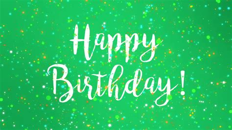 sparkly green happy birthday greeting stock footage video