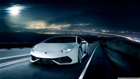 Lamborghini Huracan On The Road At Night 4k Hd Desktop