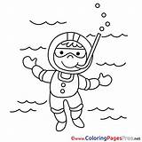 Coloring Diver Printable Pages Sheet Title sketch template