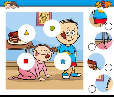 Juego de piezas rompecabezas con niños y pastel