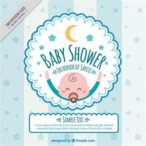 Baby shower invitation with a happy baby Vector Free Download