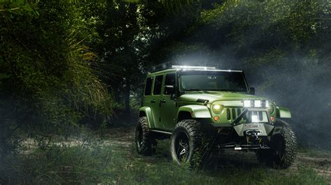 Jeep Wrangler Unlimited 4k Wallpapers by Green Jeep Wrangler Unlimited On Green Grass Between Trees