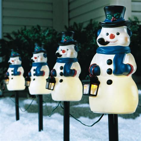 ace hardware outdoor christmas decorations celebrations vintage look snowman pathway marker 4 pack 78709 71 outdoor and window d 233 cor